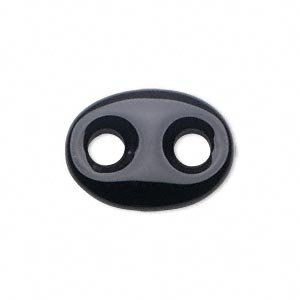 link, black onyx (dyed), 25x18mm flat oval, mohs hardness 6-1/2 to 7. sold per pkg of 2.