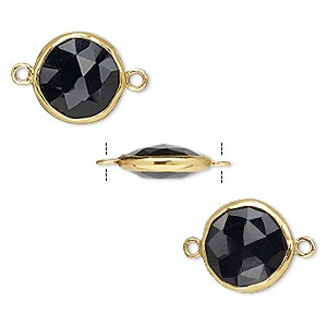 link, black onyx (dyed) and gold-finished sterling silver, 12mm double-sided faceted round. sold per pkg of 2.