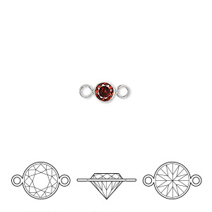 link, cubic zirconia and sterling silver, garnet red, 4.5mm round with 4mm faceted round. sold individually.