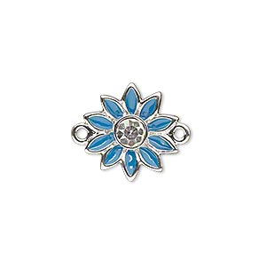 link, enamel / swarovski crystals / silver-plated pewter (zinc-based alloy), blue and crystal clear, 16x15mm single-sided flower. sold individually.