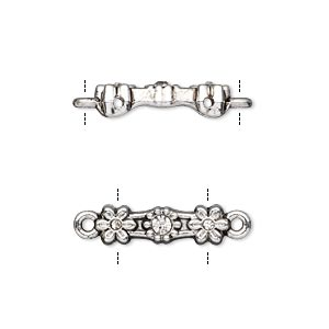 link, glass rhinestone and antique silver-finished pewter (zinc-based alloy), clear, 18x5mm double-drilled bar with flower design, fits up to 11.5mm bead. sold per pkg of 10.
