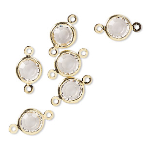 link, glass rhinestone and gold-finished brass, crystal clear, 8-9mm faceted round. sold per pkg of 6.