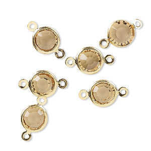 link, glass rhinestone and gold-finished brass, topaz yellow, 8-9mm faceted round. sold per pkg of 6.