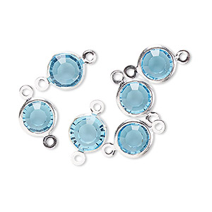 link, glass rhinestone and silver-finished brass, aqua blue, 8-9mm faceted round. sold per pkg of 6.