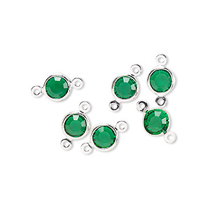 link, glass rhinestone and silver-finished brass, emerald green, 6-6.5mm faceted round. sold per pkg of 6.