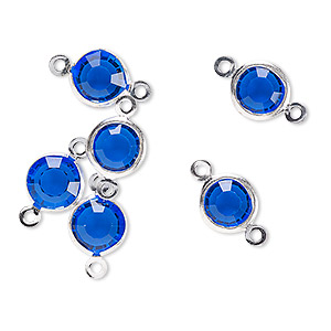 link, glass rhinestone and silver-finished brass, sapphire blue, 8-9mm faceted round. sold per pkg of 6.