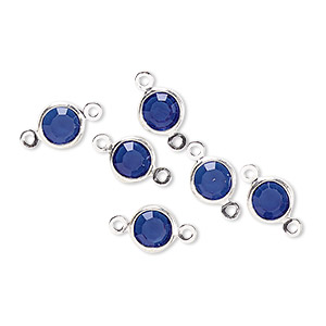 link, glass rhinestone and silver-finished brass, zircon blue, 6-6.5mm faceted round. sold per pkg of 6.