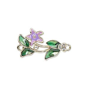 link, gold-finished pewter (zinc-based alloy) / swarovski crystal rhinestone / enamel, purple / green / crystal clear, 23x15mm single-sided flower and leaves. sold individually.
