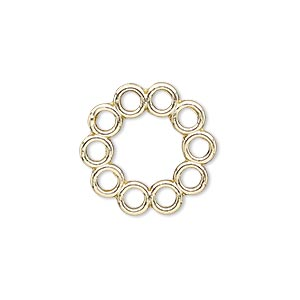 link, gold-finished pewter (zinc-based alloy), 20mm round with flat back and 10 loops. sold per pkg of 4.