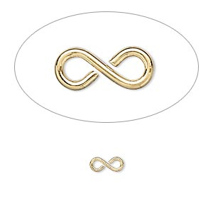 link, gold-plated brass, 7x3mm figure 8. sold per pkg of 100.