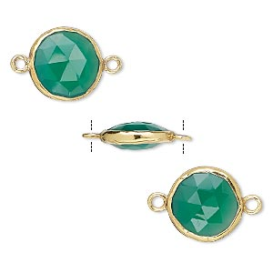 link, green onyx (dyed) and gold-finished sterling silver, 12mm double-sided faceted round. sold per pkg of 2.