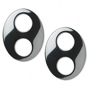 link, hemalyke™ (man-made), 31x24mm oval with (2) 10mm holes. sold per pkg of 2.
