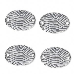 link, jbb findings, antique silver-plated pewter (tin-based alloy), 18.5x13mm single-sided oval with wavy lines. sold per pkg of 4.