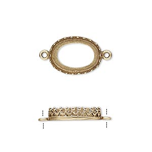 link, jbb findings, antiqued brass, 15x11mm oval with open back and decorative trim, 14x10mm oval bezel setting. sold per pkg of 2.