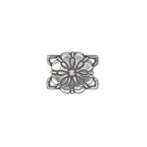 link, jbb findings, antiqued silver-plated brass, 13x13mm single-sided flower. sold individually.