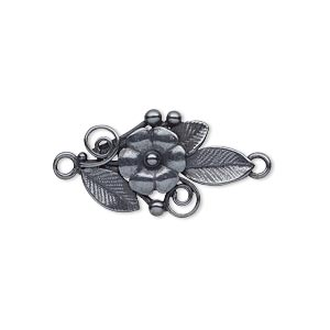 link, jbb findings, gunmetal-plated brass, 23.5x14mm single-sided flower and leaves. sold individually.