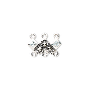 link, marcasite (natural) / cubic zirconia / sterling silver, blue, 16x8mm with 6 loops. sold individually.