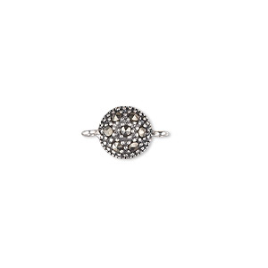 link, marcasite (natural) and sterling silver, 8mm round. sold individually.