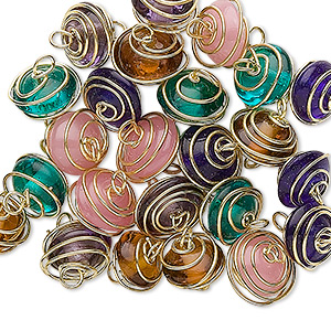 link mix, glass and gold-finished brass, transparent mixed colors, 7x4mm-11x6mm wire-wrapped rondelle. sold per pkg of 25.