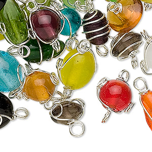 link mix, glass and silver-finished pewter (zinc-based alloy), mixed opaque and translucent colors, 7x4mm-14x11mm mixed wire-wrapped shape. sold per 100-gram pkg, approximately 50-75 links.