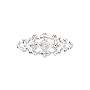 link, silver-finished brass, 27x12mm single-sided filigree with flower and leaves design. sold per pkg of 2.
