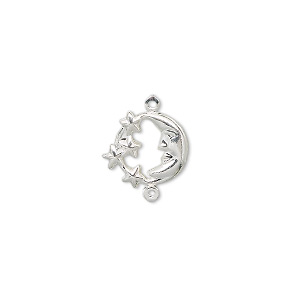 link, silver-plated brass, 11mm moon face with stars. sold per pkg of 10.