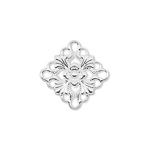 link, silver-plated brass, 20x20mm single-sided diamond. sold per pkg of 48.