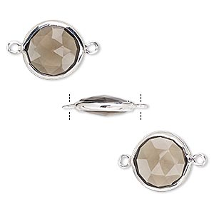 link, smoky quartz (heated / irradiated) and sterling silver, 12mm double-sided faceted round. sold per pkg of 2.