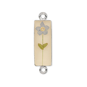 link, sterling silver / resin / forget-me-not flower, antique sepia and blue, 30x8.5mm rectangle. sold individually.