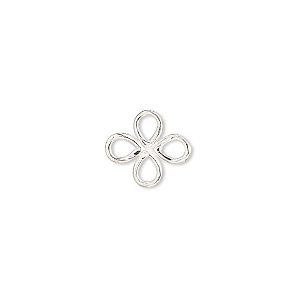link, sterling silver, 13x12mm open 4-petal flower. sold per pkg of 2.