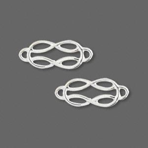 link, sterling silver, 17x9mm interweave ovals. sold per pkg of 2.