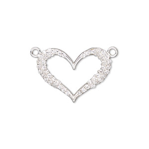 link, sterling silver and cubic zirconia, clear, 22x16.5mm single-sided open heart. sold individually.