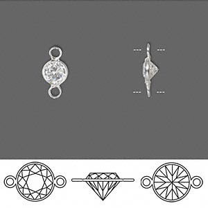 link, sterling silver and cubic zirconia, clear, 5.5mm faceted round. sold per pkg of 2.