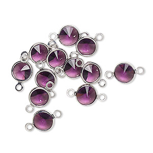 link, swarovski crystals and rhodium-plated brass, crystal passions, amethyst, 6.14-6.32mm round (57700), ss29. sold per pkg of 12.