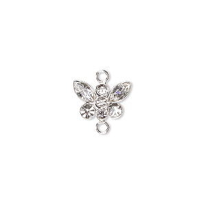 link, swarovski crystals and sterling silver, crystal clear, 12x8mm butterfly. sold individually.