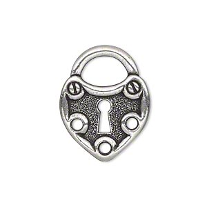 link, tierracast, antique silver-plated pewter (tin-based alloy), 25x19.5mm double-sided heart lock. sold individually.