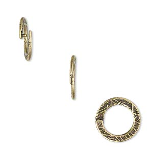 loop lock™, jbb findings, antique brass-plated pewter (tin-based alloy), 13mm double-sided textured flat round. sold per pkg of 4.