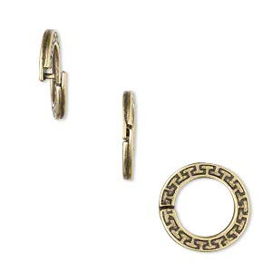 loop lock™, jbb findings, antique brass-plated pewter (tin-based alloy), 15mm double-sided flat round with geometric design and ridged edge. sold per pkg of 4.