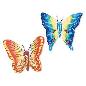 magnet, polymer clay and plastic, assorted multicolored, 50x47mm butterfly. sold per pkg of 2.