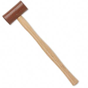 mallet, rawhide and wood, brown and red-brown, 11-1/2 inches with 30-35mm head. sold individually.