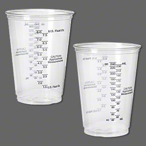 measuring cup, deep flex™, plastic, clear and black, 4x2-1/2 inches. sold per pkg of 5.