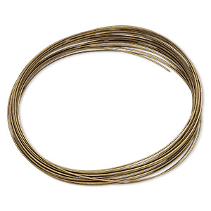 memory wire, beadalon, antique brass finished carbon steel, 2-1/2 x 1-3/4 inch oval bracelet, 0.6-0.75mm thick. sold per 0.35-ounce pkg, approximately 23 loops.
