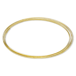 memory wire, beadalon, gold-plated carbon steel, 3-5/8 inch flat necklace, 1x0.5mm-1.2x0.6mm flat. sold per 0.35-ounce pkg, approximately 7 loops.