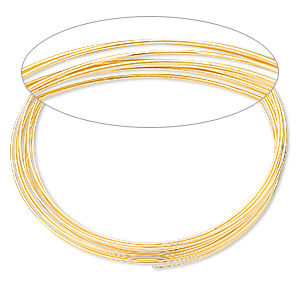 memory wire, gold-finished stainless steel, 2-1/4 inch bracelet, 0.65-0.75mm thick. sold per 1-ounce pkg, approximately 50 loops.