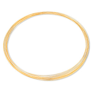 memory wire, gold-finished stainless steel, 3-5/8 inch necklace, 0.6-0.75mm thick. sold per pkg of 12 loops.