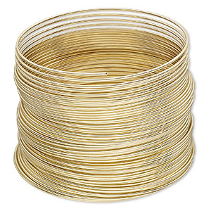 memory wire, gold-plated high carbon steel, 1-3/4 inch bracelet, 0.7mm thick. sold per pkg of 12 loops.