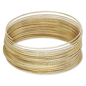 memory wire, gold-plated high carbon steel, 2-1/4 inch bracelet, 0.7mm thick. sold per 1-ounce pkg, approximately 46 loops.