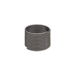 memory wire, gunmetal-plated high carbon steel, 1/2 inch toe ring, 0.7mm thick. sold per pkg of 12 loops.
