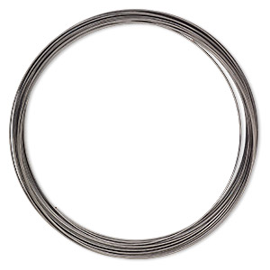 memory wire, gunmetal-plated high carbon steel, 3-5/8 inch necklace, 0.7mm thick. sold per 1-ounce pkg, approximately 29 loops.