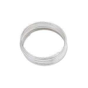 memory wire, silver-plated carbon steel, 3/4 inch ring, 0.65-0.75mm thick. sold per 1-ounce pkg, approximately 155 loops.